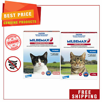 Milbemax Allwormer Cat Worm treatment 2 Tablets for Small and Large Cats