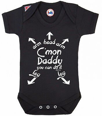 BritTot Baby Grow C`Mon DADDY You Can Do It Funny Boys Girls Baby Shower