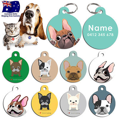 Steel Personalized Pet cat dog Tag Stripes Key ring Name Tags French Bulldog
