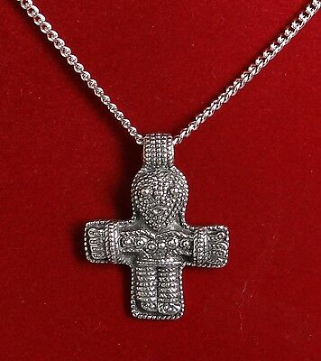 Large Anthropomorphic Viking Cross Amulet Pendant on Chain in Fine Pewter
