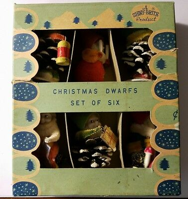 Vintage Shiny-Brite Christmas Dwarfs Set Of Six In Original Box Made In Japan