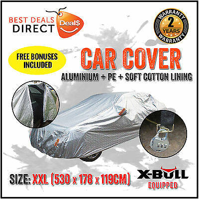 Car Cover 3x Layers Double Thick Waterproof Rain Resistant UV Dust Protection