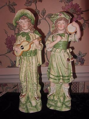 "Pair Mid Century 14"" Tall Irish Porcelain Bisque  Figurines Green Gold Musician"