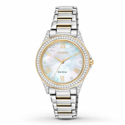 New Citizen Womens EM0234-59D Eco-Drive Two-Tone Watch w/ Crystal-Accented Bezel