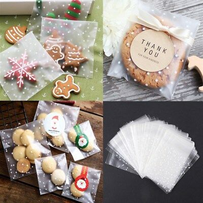 100pcs Self Seal Adhesive Polka Dots Plastic Cellophane Cookies Candy Bags Gift