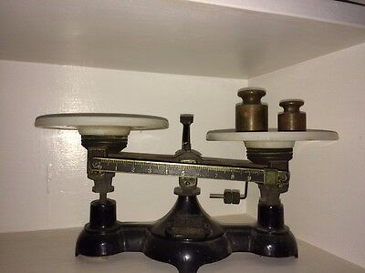 Antique Ohaus Apothecary scale wirh Ceramic plates
