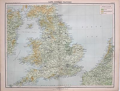 1897 Antique Map England & Wales Land Surface Features Woodland Cultivated Land