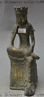 mark old china buddhism bronze gilt seat Kwan-Yin GuanYin goddess buddha statue