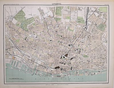 1897 Victorian Antique Map Liverpool Plan Stations Docks Market University