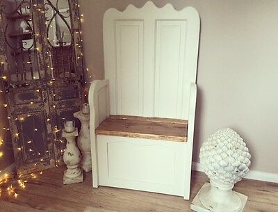 Shabby Chic Vintage Settle Storage  Monks Bench