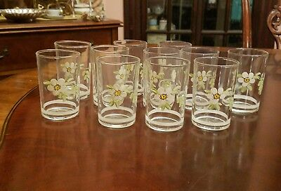 11 Hand painted Federal Glass Juice glasses white apple orange blossoms flowers