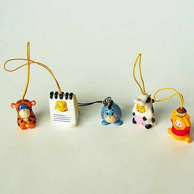 5 Winnie the Pooh Keychains Ornaments Charm Rubber Costumes Eeyore Piglet Disney