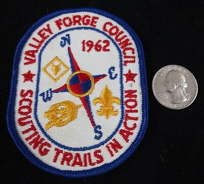 Vtg 1962 Boy Scout Valley Forge Council Scouting Trails Action Patch BSA Compass