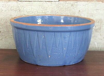 Ruckels White Hall Ill ICICLES Sawtooth Stoneware BLUE Butter Crock 3-4 lb 1879
