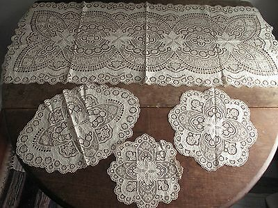Lot of 4 - Antique Lace & Embroidered Dresser Set - Runner Doilies