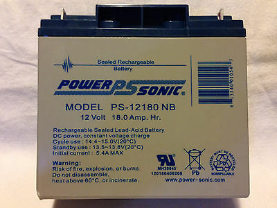 Power Sonic PS-12180 NB Battery 12V 18.0Ah Sealed Lead Acid SLA AGM Yuasa