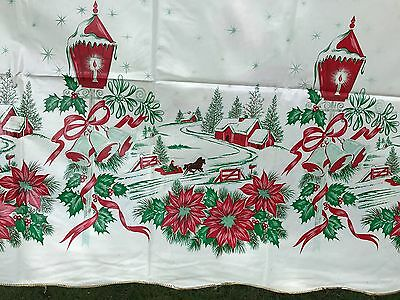 "VTG Tablecloth Vinyl Double-Sided Christmas & Birthday Pink 1950s 54"" x 82"" VGUC"