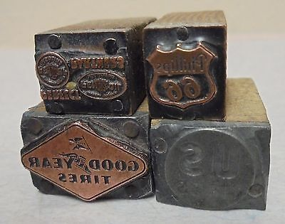 Lot Of 4 Vintage Pennzoil Good Year US Tire 66 Printing Blocks Sign Gas Oil