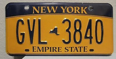 2012 New York  Empire State Gold License Plate Gvl 3840 Used