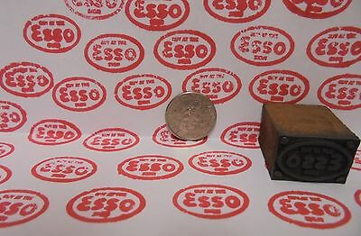 Vintage Esso Oil Printing Block Sign Gas Station Motor Oil Display Item