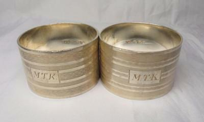 Antique English Sterling Silver Napkin Rings Pair