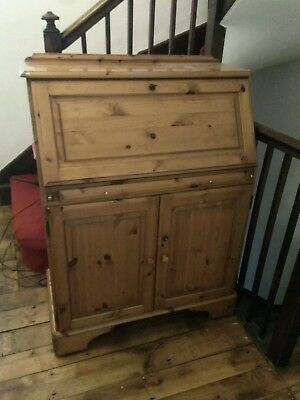 Solid pine bureau with cupboard