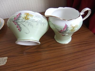 Vintage Aynsley Green Wayside Sugar and Cream Jug C1280 used but in ex cond