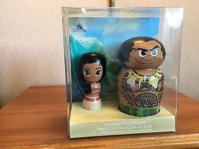 D23 Expo 2017 Exclusive Moana & Maui John Lasseter Wooden Doll Set LE 300