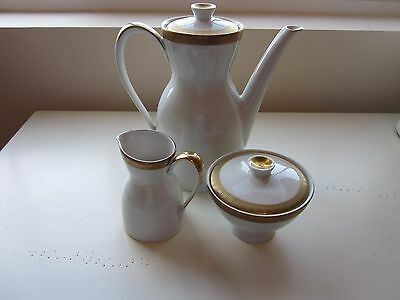 Mitterteich  Coffee Pot with Cream and Sugar White w/ gold trim