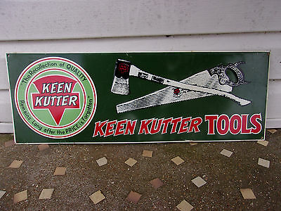 "Vintage 1950s Keen Kutter Axe Hand Saw Tool Farm Gas Oil 21"" Embossed Metal Sign"