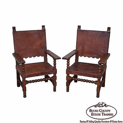 Vintage Pair of Spanish Colonial Leather Arm Chairs