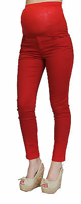 Red Skinny Maternity Jeans Solid Pants Bottoms High Waisted XS S