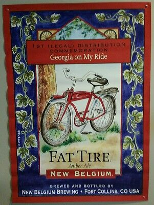 RARE Vintage New Belgium Fat Tire Amber Ale 'Georgia on my Ride' Bar Size Poster