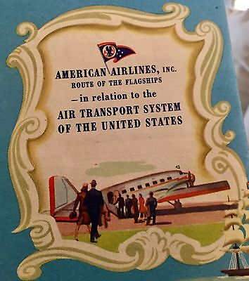 1945 USA Map American Airlines Routes...Amazing Color and Graphics! Original!