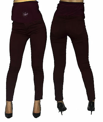 EggPlant Plum Purple Skinny Maternity Jeans Solid Pants Bottoms High Waisted