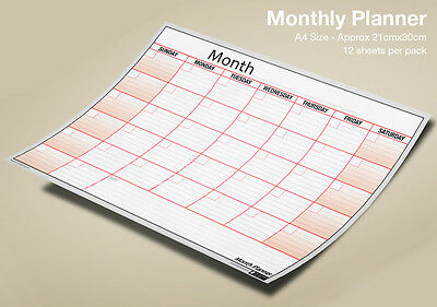 A4 MONTH PLANNER Wall / Desk Monthly Planner Pack, Use Any Month/Year ✔100% UK