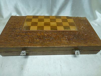 "Antique Persian Backgammon hand carved Wood  Floral design 16"" ,30 wooden chips"