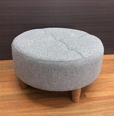 Riley Round  Stool Ottoman Pouf Seat Chair Foot Rest Sofa Fabric 60Cm Grey