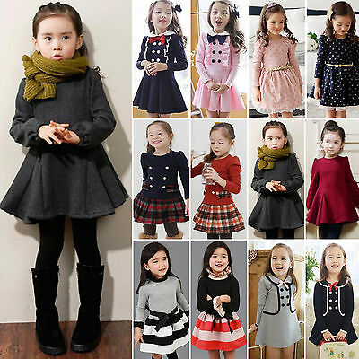 Kid Toddler Girls Princess Long Sleeve Tutu Skater Dress Party Autumn Skirt 1-9Y