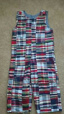 kelly's kids reversible madras plaid overall bus 3