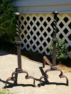 Antique Tall Twisted Iron Rhode Island Federal Andirons