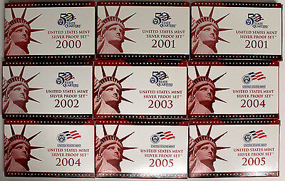 9 United States Mint Silver Proof Sets-2000,2001,2002,2003,2004,2005