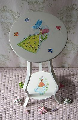 Antique Vtg Shabby Chic Angel~Flower~Fairy Floral Wooden Plant Stand Side Table