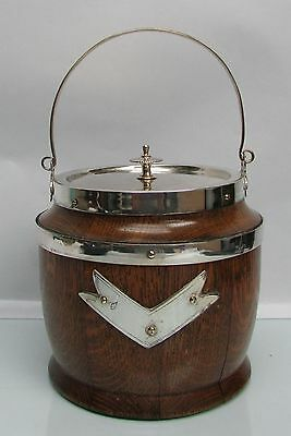 Antique Victorian English Oak Wood & Silver Plate Biscuit Barrel / Ice Bucket