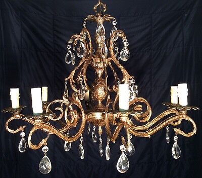 HUGE Antique French Double Pineapple Chandelier - Brass Bronze Lead Cut Crystal