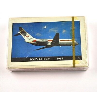 TWA Airlines USA Spielkarten Flugzeug Airline Playing Cards Douglas DC-9 1966