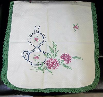 """Vintage Hand Embroidered Table Runner 38""""x 18""""lamp & Flowers,Green Crocheted"""