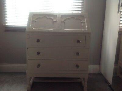 Lovely Shabby Chic Painted Vintage Writing Bureau Desk Drawers