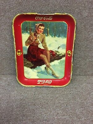 Vintage Coca Cola 1941 Ice Skater Girl Serving Tray The American Art Works Inc