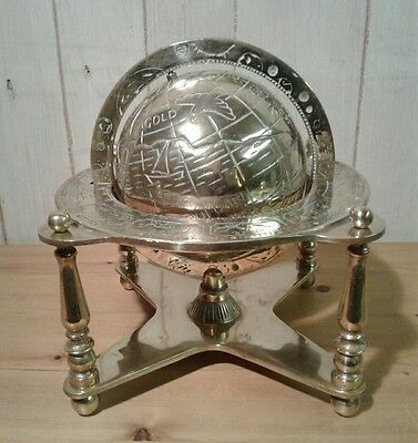 Rare large antique brass earth globe with astrology and planet markings